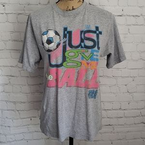 Vintage 90's Girl Power Grey T-Shirt Soccer USA